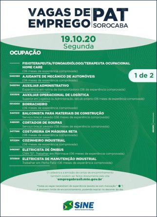 Banner 2 vagas pat sorocaba dia 19/10/2020