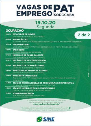 Banner vagas no pat sorocaba 19/10/2020