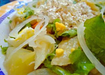 Receita de salada com lascas de bacalhau